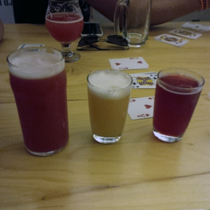 Magician's Assistant Sour & Changeling Raspberry Sour - Mixed in big glass, plus individual samplers