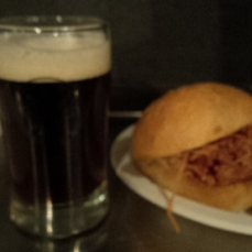 Winning El Camino Smoked Ham Sandwich paired with Main Street Brewing Red Rye Saison. Damn blurry picture!