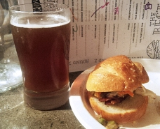 Cartem's Donuts - wild mushroom donut paired with R&B Nettle and Herb Ale