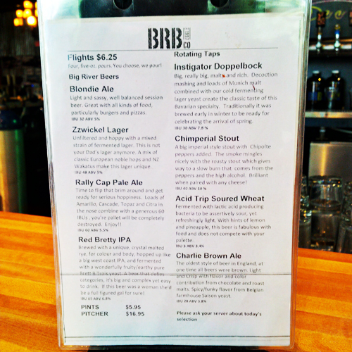 Big River Brewpub Flights Menu