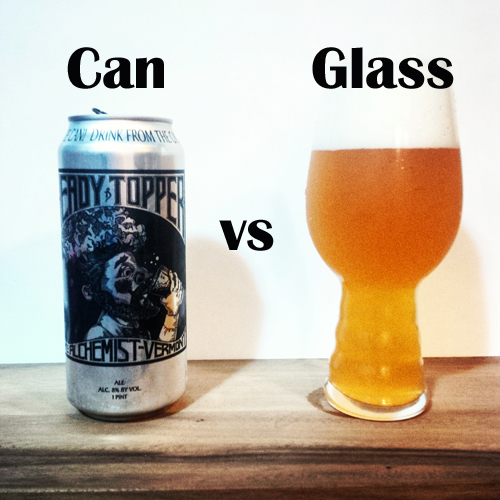 Heady Topper Can vs Glass